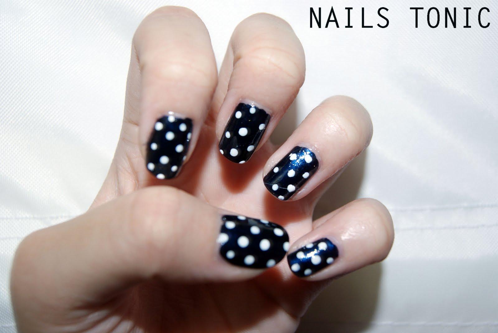 Dark Blue Polka Dot Nails