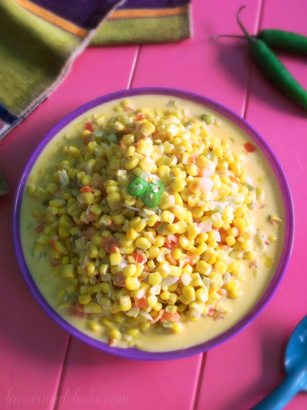 Creamed Corn a la Mexicana - lacocinadeleslie.com