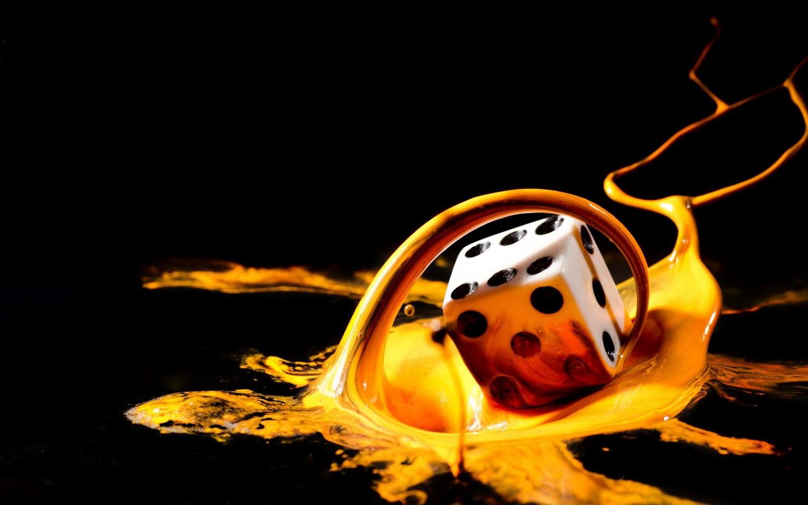 Imagem de Fundo - Dado em tinta amarela