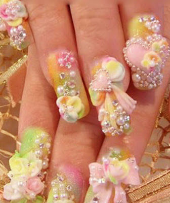 Latest Acrylic Nails Design Picture 2012
