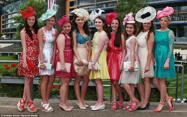 colorful and stylish young racegoers on day 2 at Royal Ascot 2014