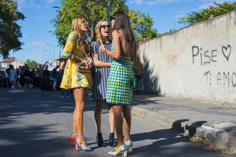 Anna Dello Russo and Micol Sabbadini at Emilio Pucci 2016 Spring Summer show during Milan Fashion Week MFW