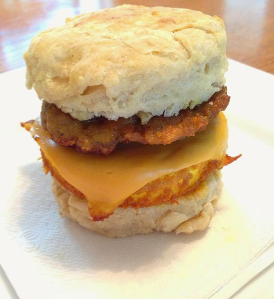 "The Comforting Vegan : Vegan Sausage Biscuit with ""Egg"" & Cheese"