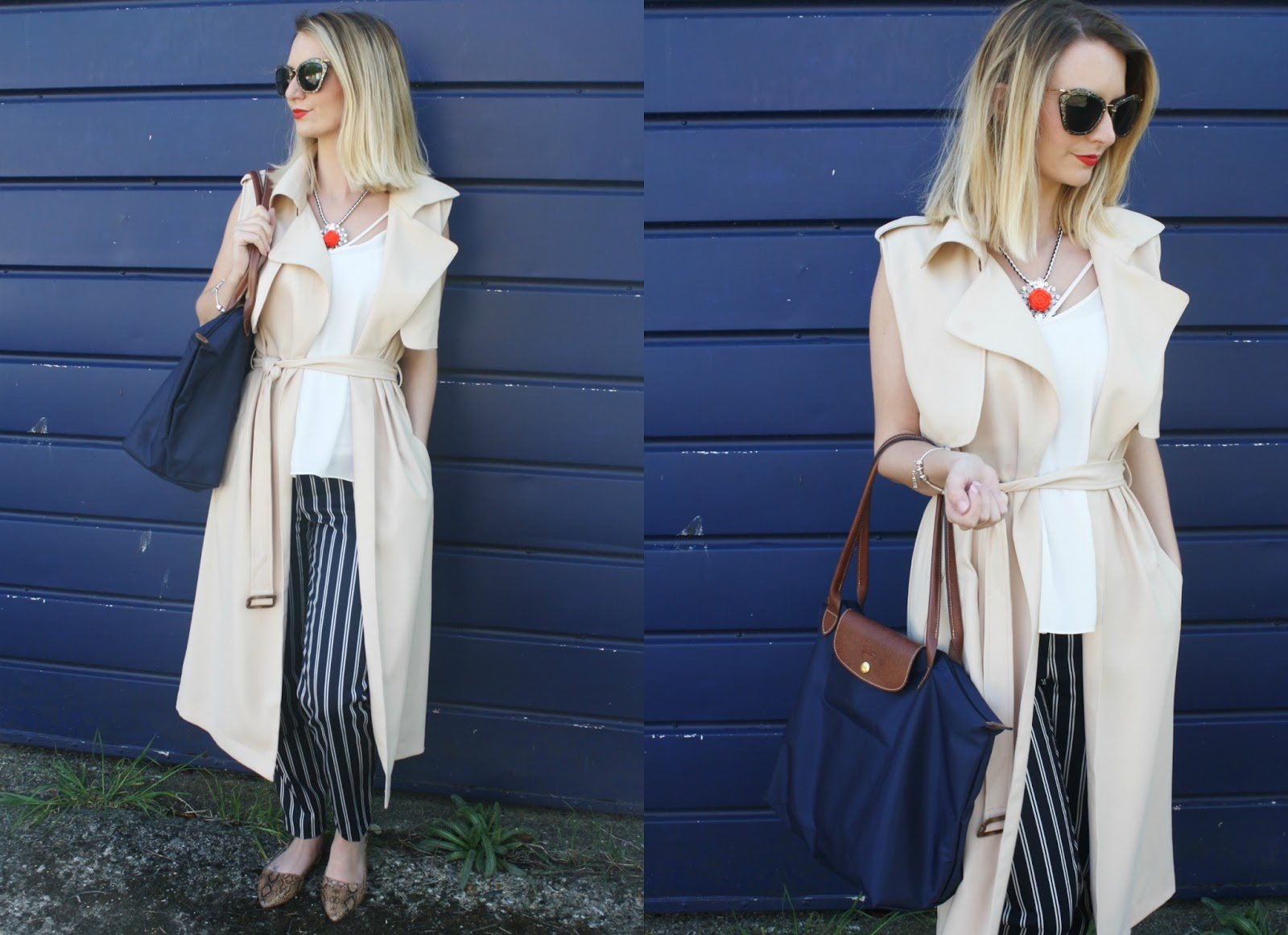 Camel trench coat styled with navy and red accessories