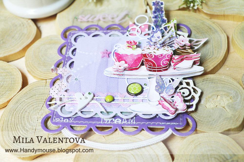 Магнит на холодильник. Сирень и розовые сладости. Мила Валентова.