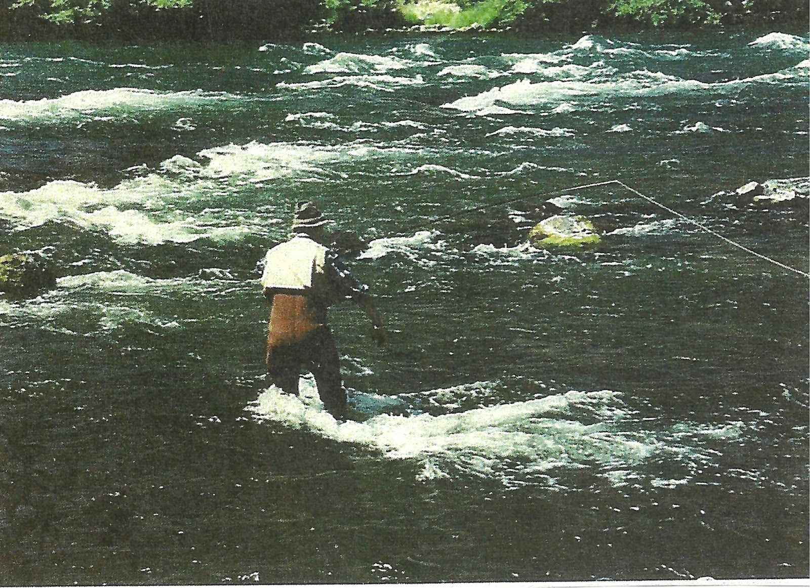 A back view picture of Doug Stewart  balancing himself in fast water rapids on the Deschutes River while fly fishing for steelhead