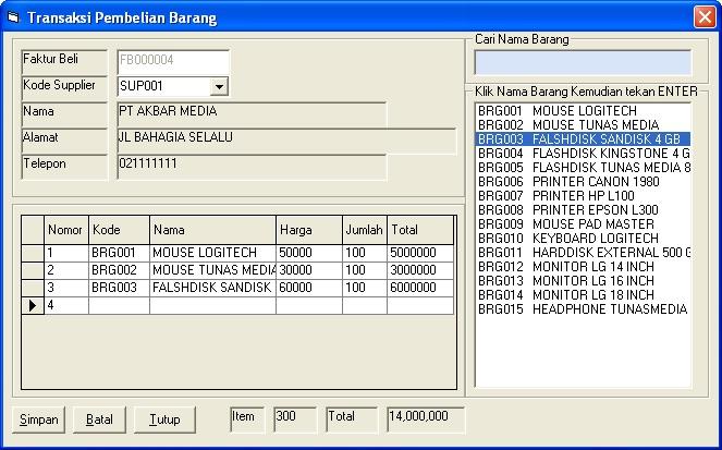 ... Aplikasi Pembelian Dengan VB 6.0 - Pintar VB   Tutorial Visual Basic: http://pintarvb.blogspot.com/2013/05/gratis-aplikasi-pembelian-dengan-vb-60.html