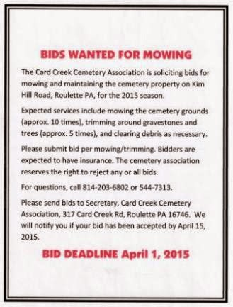 4-1 Deadline For Mowing Bids