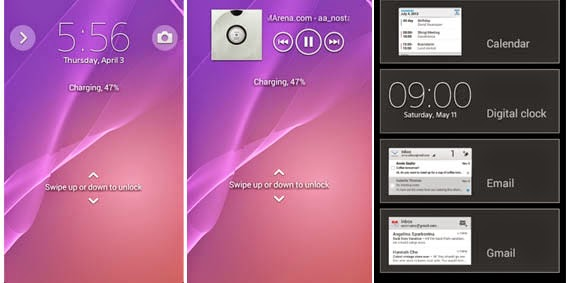 Interface Sony Xperia E1 - Lockscreen