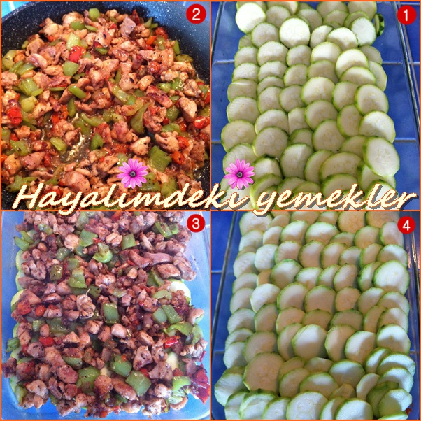 Fırında Başemelli Tavuklu Kabak Tarifi,resimli kabak yemekleri