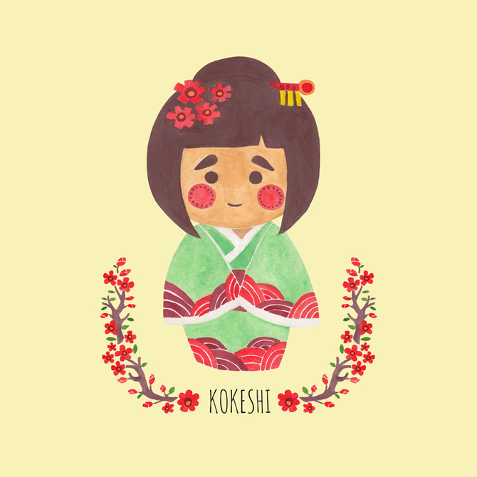 The Kokeshi Girl Illustration Printed on Merchandise Illustration by Haidi Shabrina