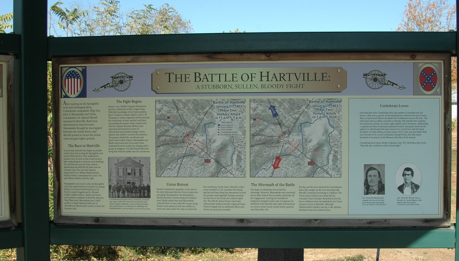 battle of hartville The battle of hartville was fought january 9-11, 1863, in wright county, missouri , as part of john s marmaduke 's first expedition into missouri , during the american civil war background map of hartville battlefield core and study areas by the american battlefield protection program.