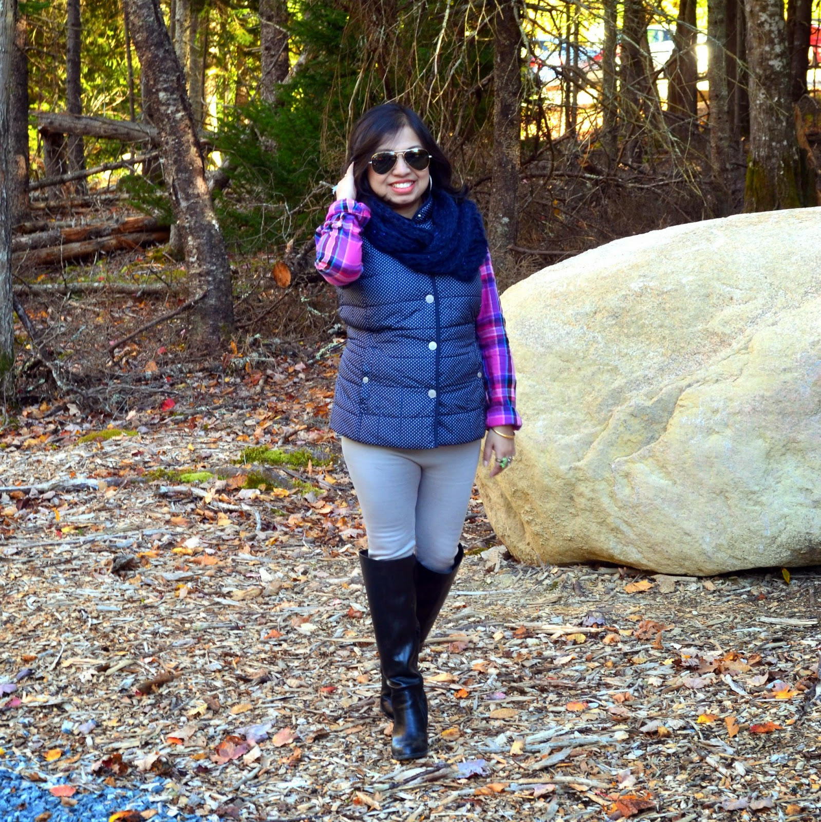 fall fashion, fall outfit, post partum fashion, fall OOTD, outfits in Maine, Kohl's puffer vest, Aeropostale shirt, Polka dot vest, plaid shirt, Maternity leggings, Cozy scarf, Payless long boot, Black long boot, quirky ring