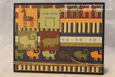 "Safari-themed kids card with animal patterned paper. The focal point is four punched squares, three with an animal and one that says ""look who's turning ( )"" (fill in the age)."