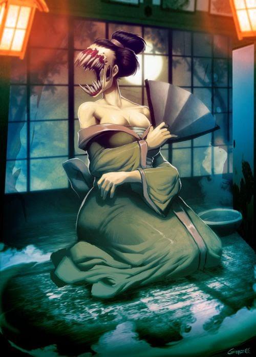 Gonzalo Ordóñez Arias genzoman deviantart ilustrações fantasia games monstros mitologias deuses Yama-uba (youkai, demônio japonês)
