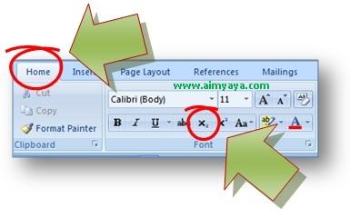 gambar toolbar untuk membuat sub script di Microsoft Word 2007