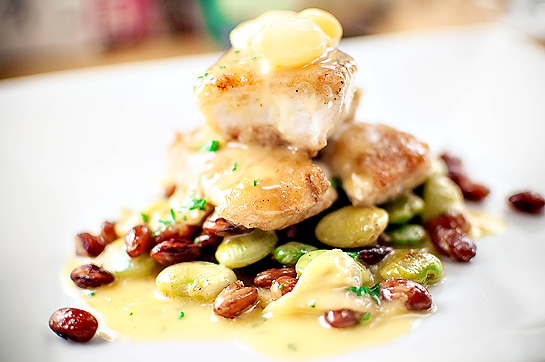 Red Snapper w/ Pickled Pearl Onions, Bean Medley, & Fortified Fish Stock Beurre Blanc
