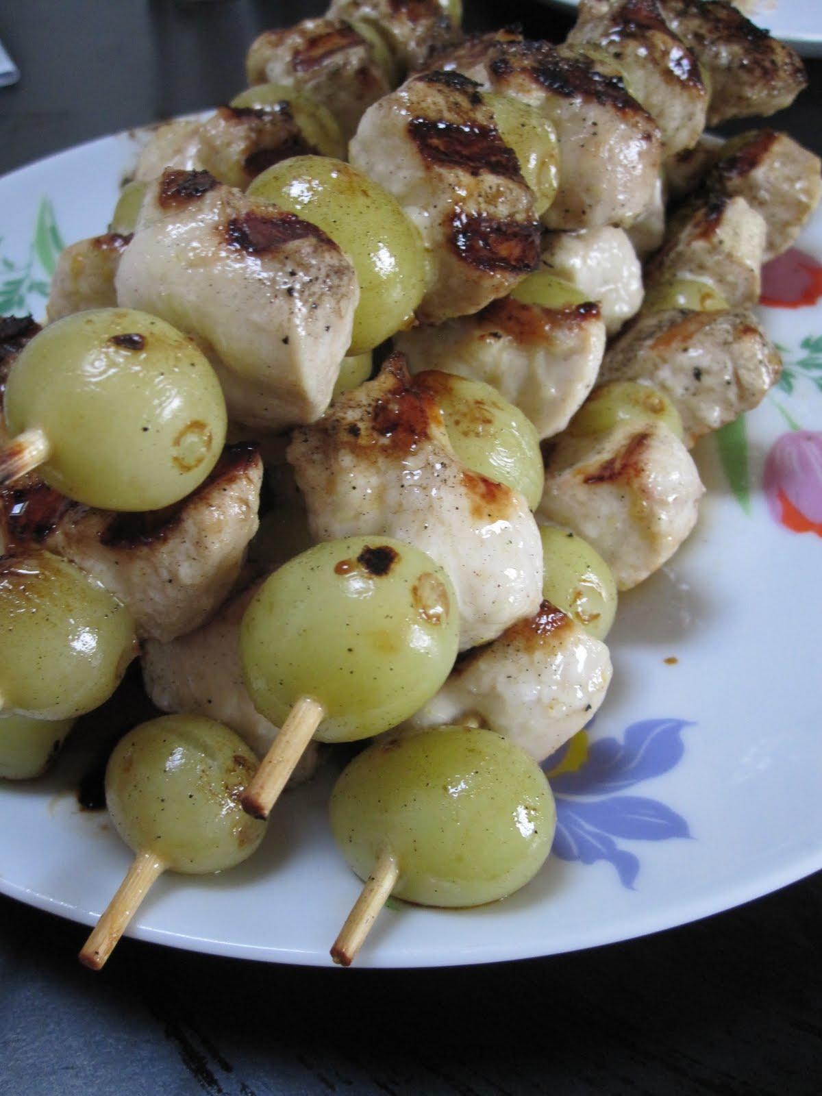 healthy-ish: Lemon-Garlic-Marinated Chicken and Grape Skewers