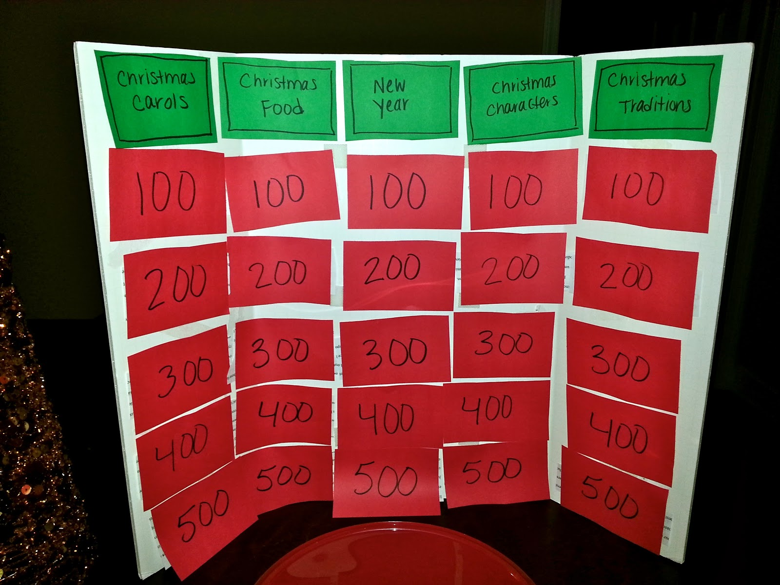 jeopardy board made of construction paper foam board - Christmas Jeopardy Game