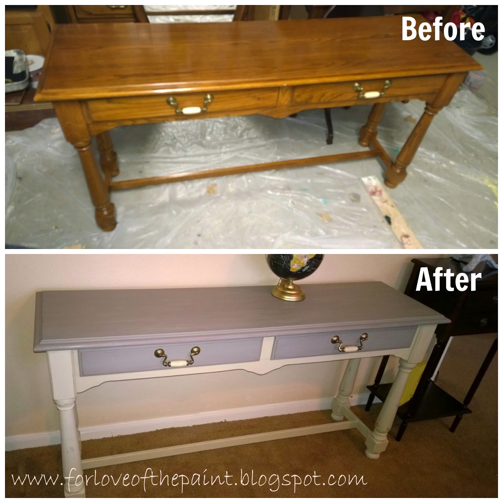 For Love Of The Paint Before And After Thomasville Sofa Table In Annie Sloan Country Grey French Linen