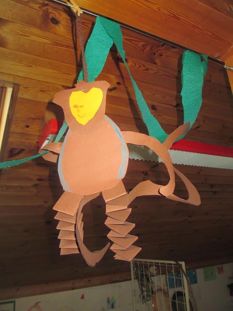 Basteln im Kindergarten Affe der Pippi Langstrumpf