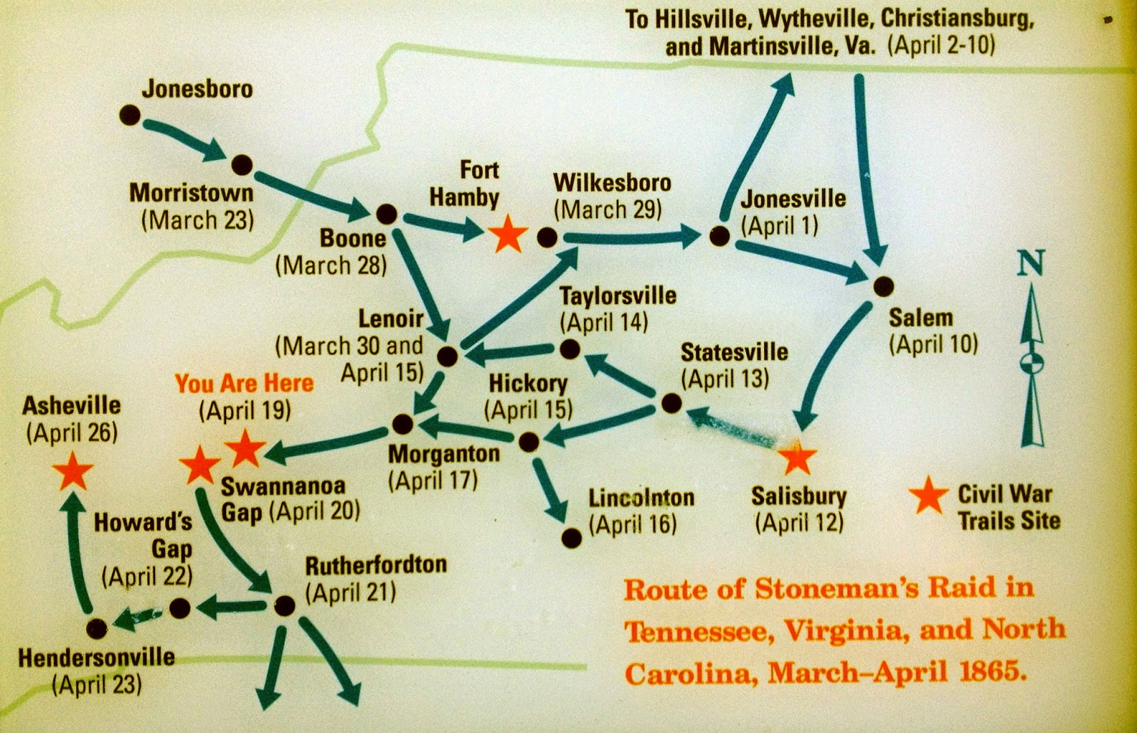 this map displayed at the carson house west of marion nc gives an overview of how stoneman s raid unfolded across western north carolina in the spring of