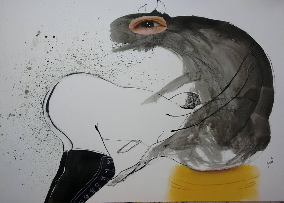 Pablo Garat Dibujo Autorretrato Con Luna Llena