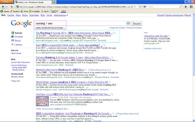 Hasil Posting Top Ranking 1 Google 2011 Setelah 96 Jam di Google Indonesia - Ranking 1 SEO