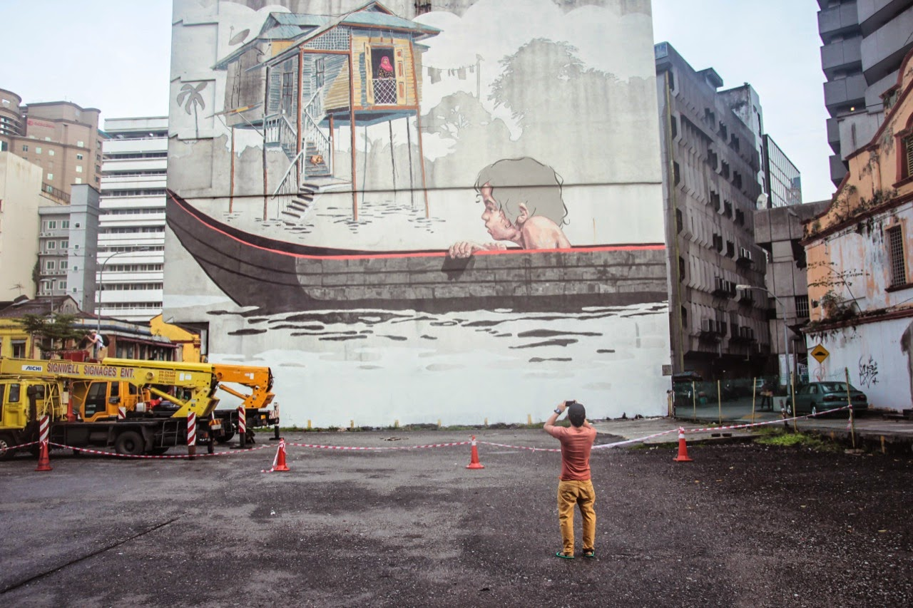 Ernest zacharevic new mural kuala lumpur malaysia for Mural 1 malaysia negaraku