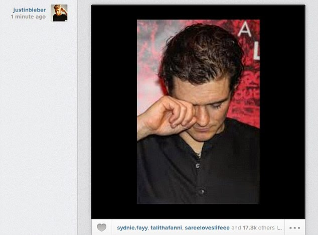 Orlando Bloom on Justin Bieber´s Instagram