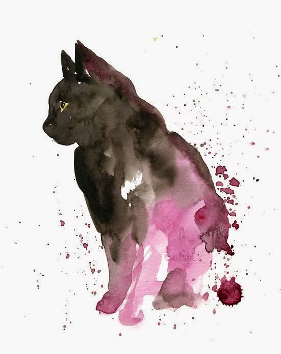 ♥ ♫ ♥ I think this would be a cool watercolor tattoo for someone who loves cats. Or use this style with another animal! Oooooh I might do this with my wolf tattoo that I'm going to get!!!! ♥ ♫ ♥