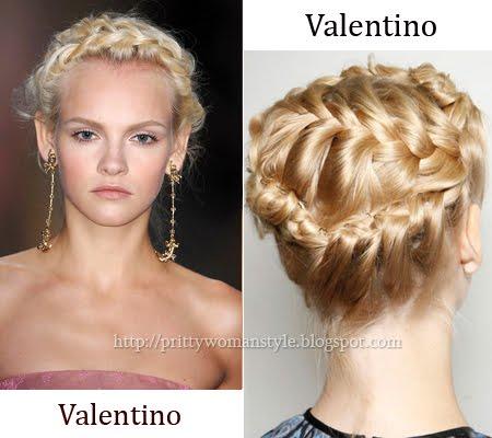 Вечерна прическа с изцяло сплетена коса Valentino пролет-лято 2012