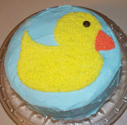 The cake was a 2layer round cake that I covered in baby blue frosting. (rubber ducky cake)