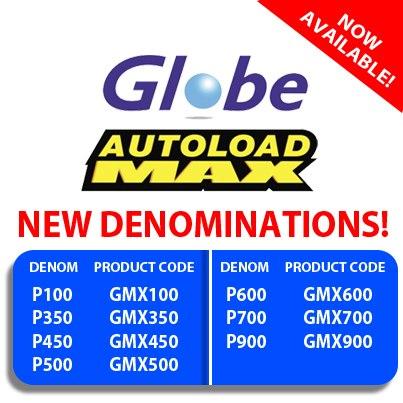 New Globe Autoloadmax Denominations