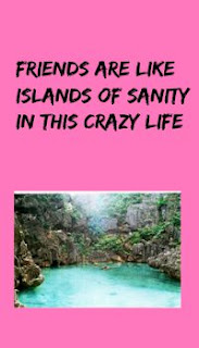 Friends are like islands of sanity in this crazy life