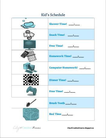 kid schedule printables