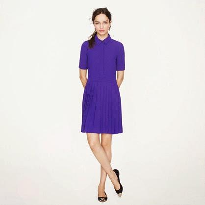 J Crew purple pleated shirtdress