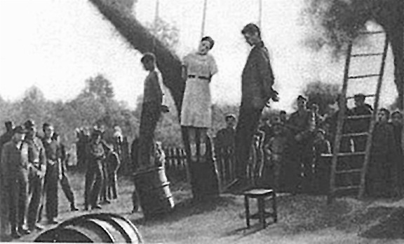 The execution of women by the Nazis during World War II