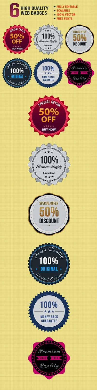 6 Free Stylish Web Badges PSD