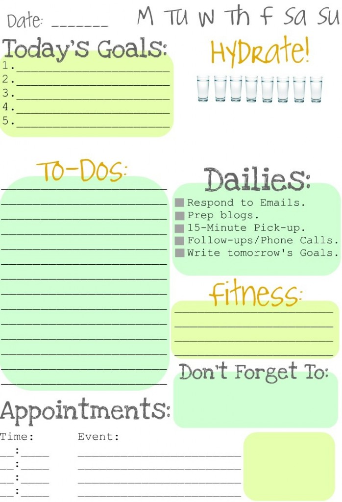 spotted free printable daily to do list