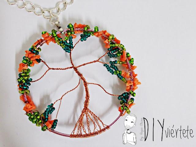 DIY-colgante-arbol de la vida- coral-pedreria-canutillos-alambre-bisuteria-0