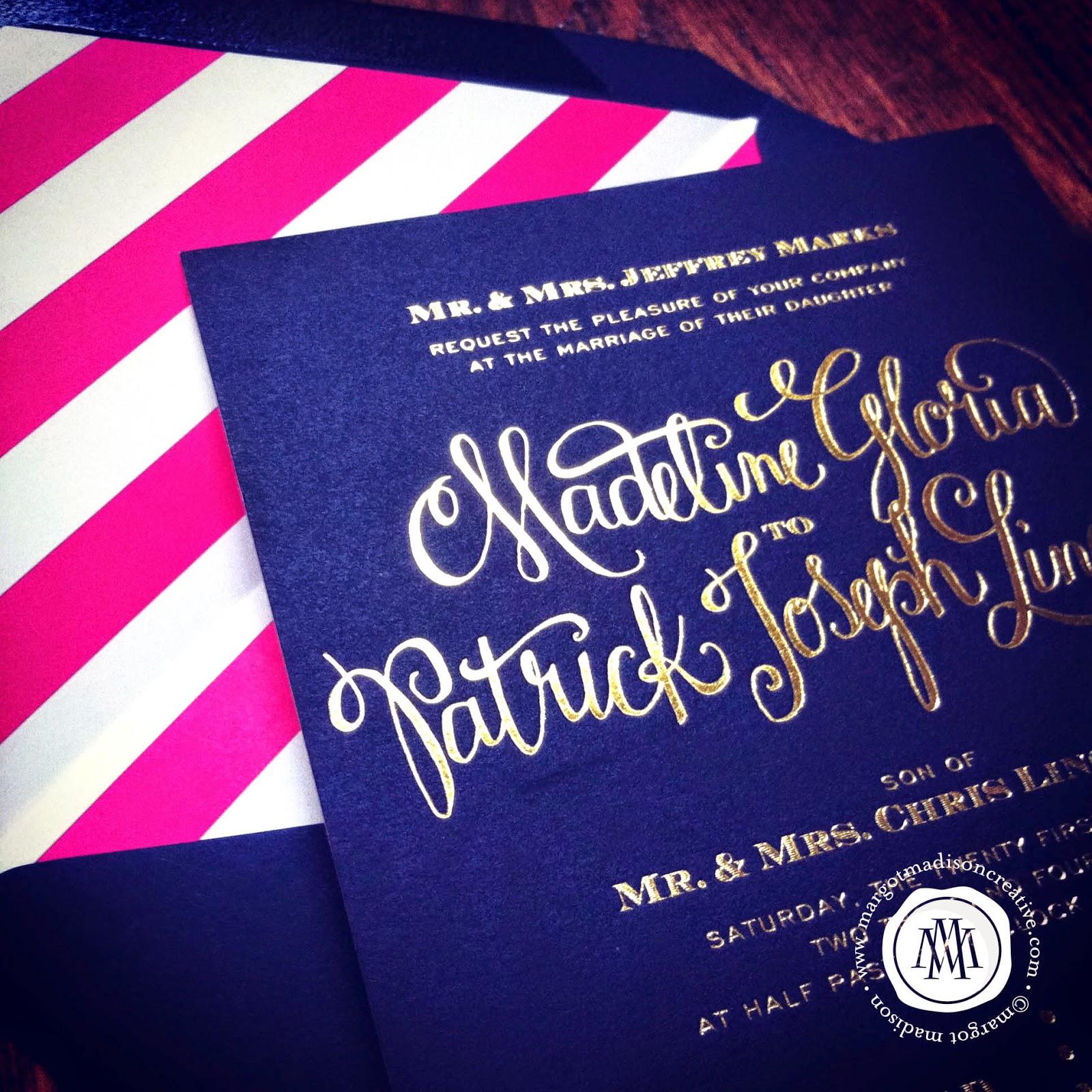 MargotMadison Navy Gold Wedding Invitation