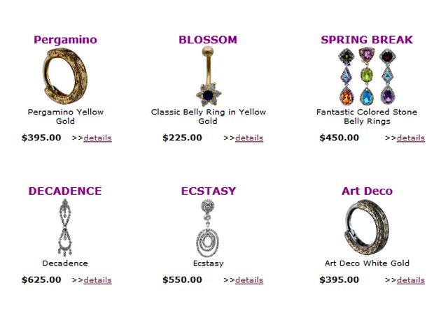 Navel jewelry blog november 2011 for Types of body jewelry rings