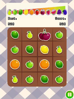 Screenshots of the 2048: Fruits for java mobile, phone.