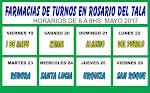 FARMACIAS DE TURNOS EN ROSARIO DEL TALA- MAYO 2017