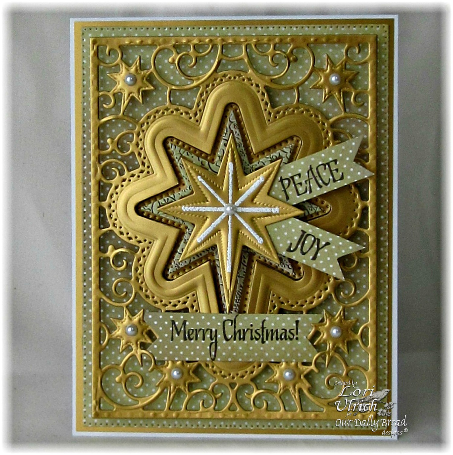 Stamps - Our Daily Bread Designs His Birth, Come Let Us Adore Him, ODBD Winter Paper Collection 2014, ODBD Custom Splendorous Stars Dies, ODBD Custom Flourished Star Pattern Die