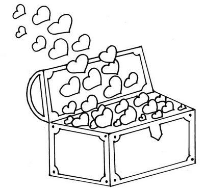 Desenho de baú do tesouro para colorir