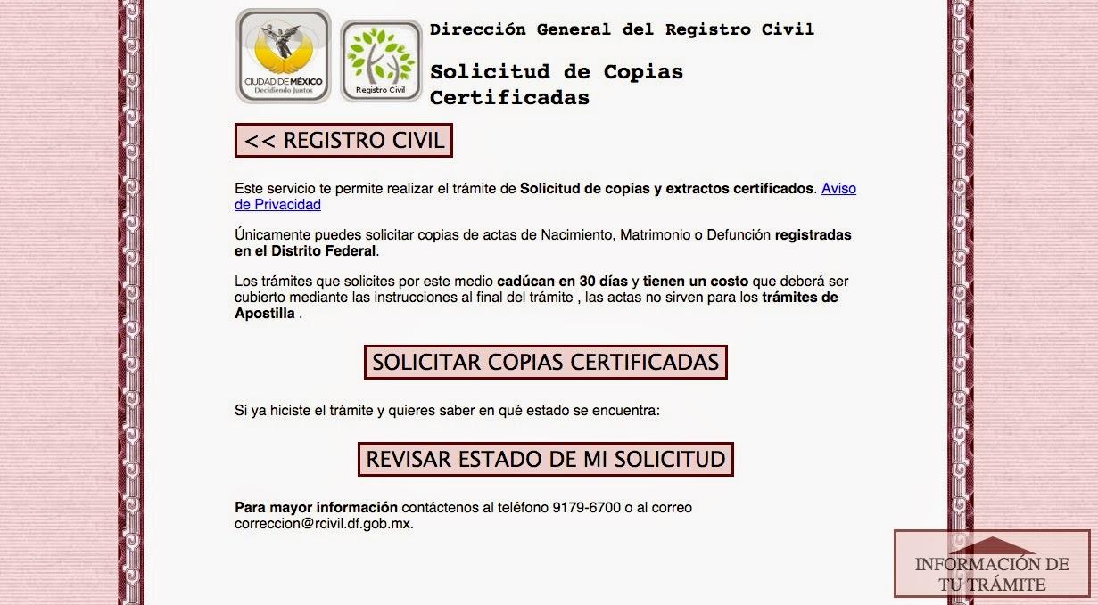 Solicita copias certificadas a domicilio de actas de nacimiento ...
