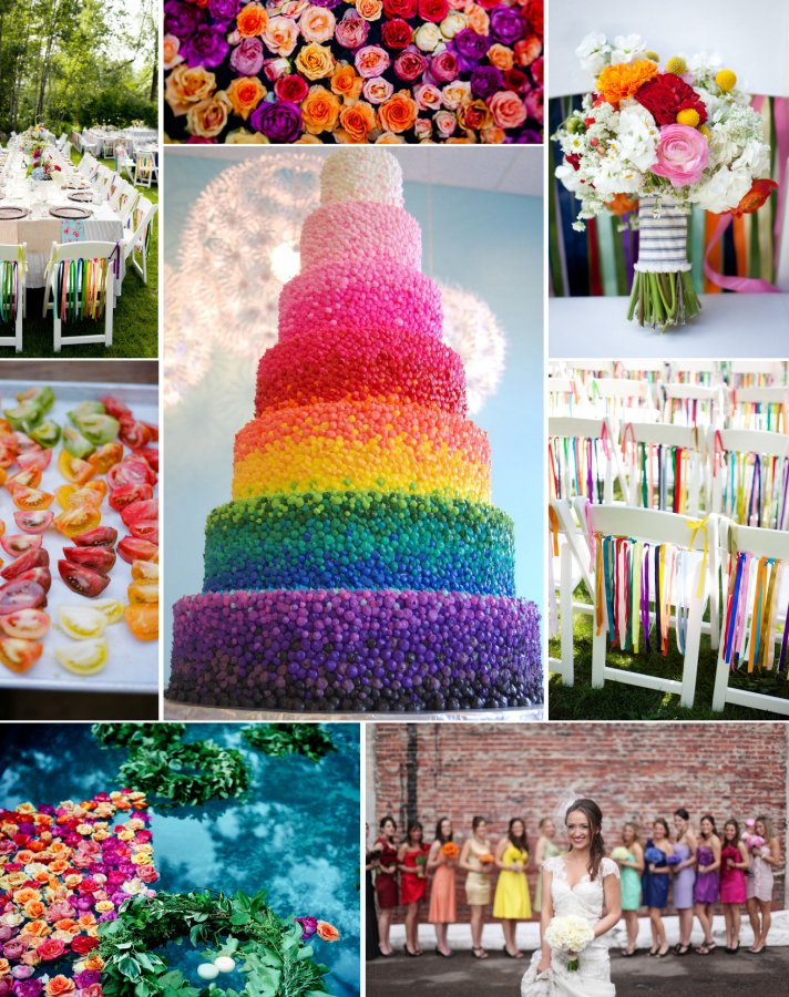 Gallery For Rainbow Wedding Cake Topper