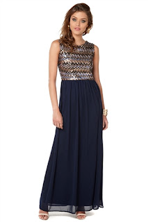 Club L Zigzag Sequin Maxi Dress